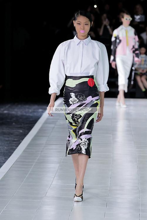 Chiharu Okunugi (New York) walks the runway wearing Prabal Gurung Spring 2014 during Mercedes-Benz Fashion Week in New York on September 5, 2013