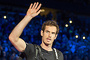 Andy Murray of Great Britain enters the arena during the Finals and day eight of the Barclays ATP World Tour Finals at the O2 Arena, London, United Kingdom on 20 November 2016. Photo by Martin Cole.