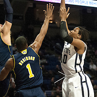 Penn State's Brandon Taylor (10) shoots a jump shot over Michigan's Glenn Robinson III (1) in the first half of an NCAA basketball game in Unversity Park, Pa., Wedneday, February 27, 2013.
