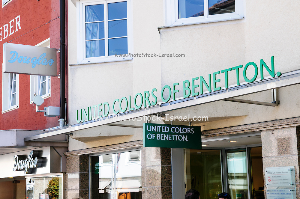 United colors of Benetton. Photographed in Lienz, Tyrol, Austria, in the main pedestrian and shopping street