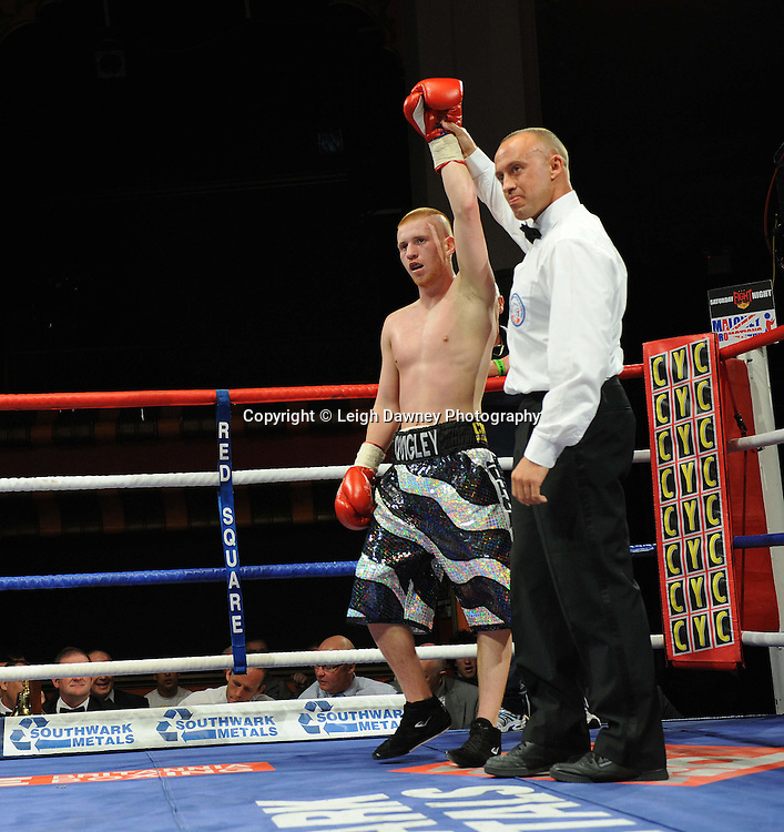 John Quigley (pictured) defeats Steve Gethin in a Super Featherweight contest at Olympia, Liverpool on the 11th June 2011. Frank Maloney Promotions.Photo credit: Leigh Dawney 2011