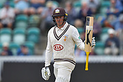 50 for Jason Roy of Surrey - Jason Roy of Surrey celebrates scoring a half century during the opening day of the Specsavers County Champ Div 1 match between Somerset County Cricket Club and Surrey County Cricket Club at the Cooper Associates County Ground, Taunton, United Kingdom on 18 September 2018.