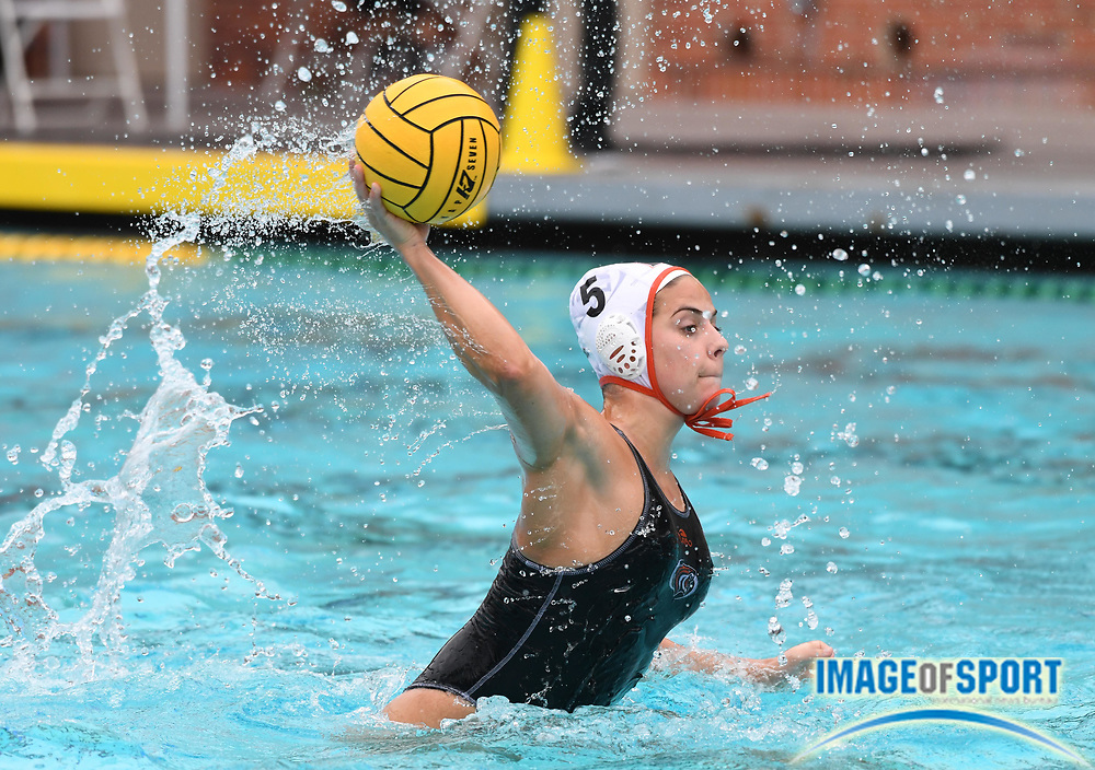 Pacific Tigers attacker Mariana Duarte (5) against the UCLA Bruins during an NCAA college women's water polo quarterfinal game in Los Angeles, Friday, May 11, 2018. UCLA defeated Pacific, 8-4.