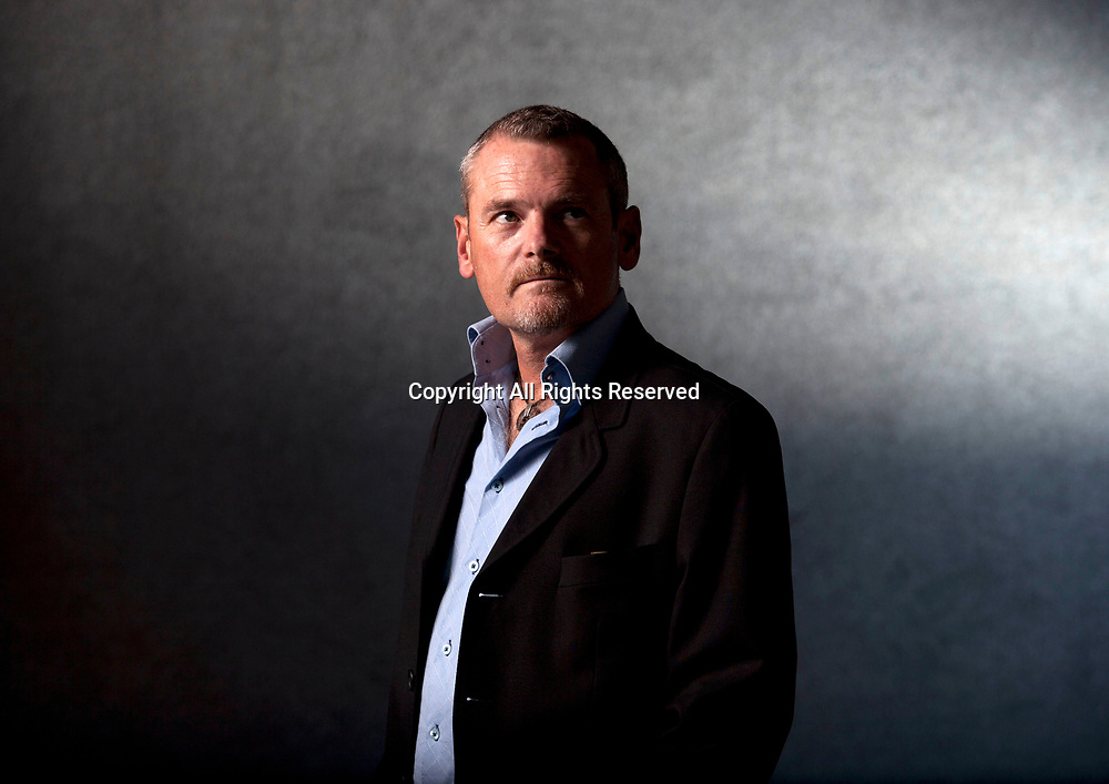 A portrait of Joe Simpson at the Edinburgh International Book Festival 2012 in Charlotte Square Gardens<br /> <br /> Pic by Pako Mera