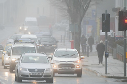 © Licensed to London News Pictures. 20/12/2017. Aberystwyth, Wales, UK. A misty and foggy day in Aberystwyth, with low visibility making for challenging driving conditions in the town and on the surrounding roads. Photo credit: Keith Morris/LNP