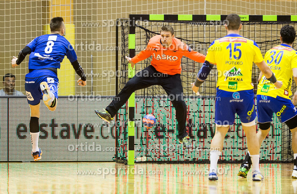 Aleks Vlah of RD Koper 2013 vs Urban Lesjak of RK Celje PL during handball match between RK Celje Pivovarna Lasko and RD Koper 2013 in Final of Slovenian Men Handball Cup 2015/16, on April 17, 2016 in Ribnica, Slovenia. Photo by Vid Ponikvar / Sportida