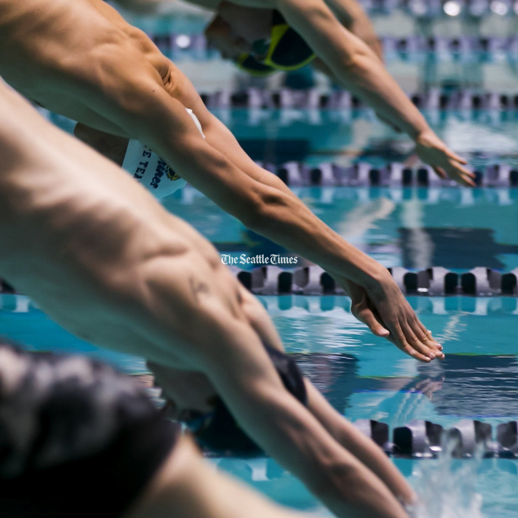 The 200-yard individual medley during the 3A Boys Swimming Championships at the King County Aquatics Center in Federal Way, February 20, 2016. (Bettina Hansen / The Seattle Times)