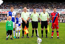 Tom Lockyer of Bristol Rovers, Ian Henderson of Rochdale and match officials with the mascots- Mandatory by-line: Robbie Stephenson/JMP - 10/09/2016 - FOOTBALL - Memorial Stadium - Bristol, England - Bristol Rovers v Rochdale - Sky Bet League One