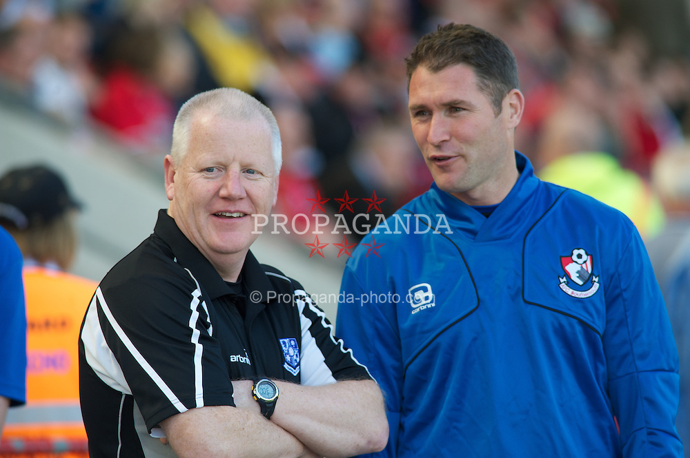 BOURNEMOUTH, ENGLAND - Saturday, April 9, 2011: Tranmere Rovers' Manager Les Parry and Bournemouth's Manager Lee Bradbury before the Football League One match at the Dean Court Stadium. (Photo by Gareth Davies/Propaganda)
