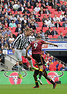 Millwall midfielder David Worrall battles with Bradford City Charlie Wyke during the Sky Bet League 1 play-off final at Wembley Stadium, London<br /> Picture by Glenn Sparkes/Focus Images Ltd 07939664067<br /> 20/05/2017
