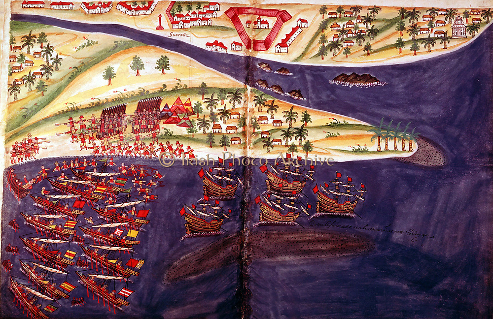 Battle between Arabs and Portuguese at Surat, Gujurat near Bombay, India. British Museum
