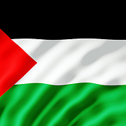 The Palestinian flag shown with ripples caused by the wind.