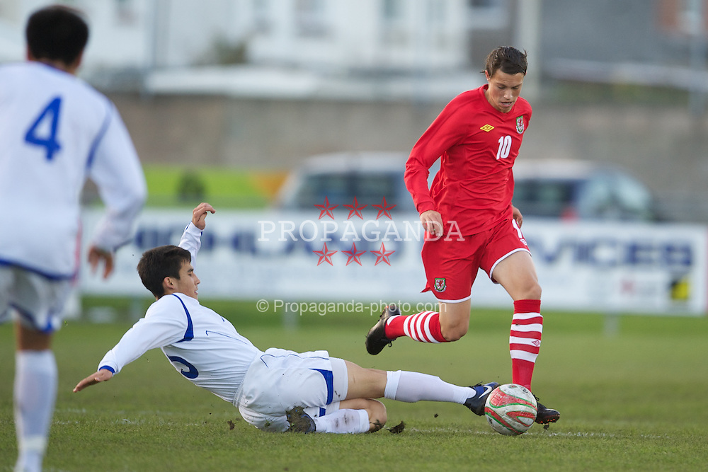BRIDGEND, WALES - Monday, October 25, 2010: Wales' Billy Bodin in action against Kazakhstan during the UEFA Under-19 Championship Qualifying Group 1 match at Brewery Field. (Pic by: David Rawcliffe/Propaganda)