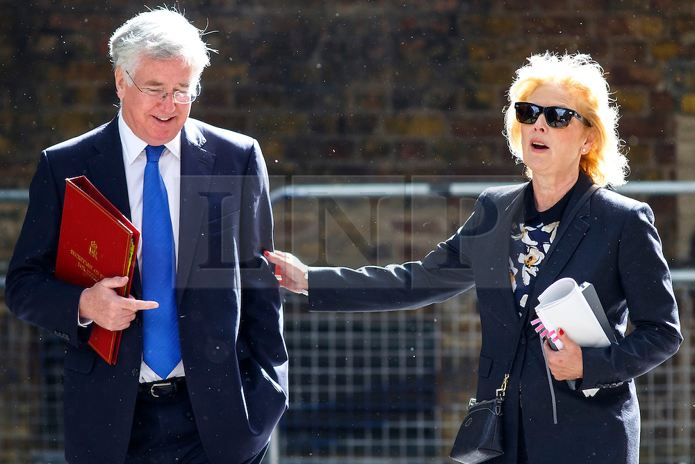 © Licensed to London News Pictures. 09/06/2015. Westminster, UK. Defence Secretary MICHAEL FALLON and Minister for Small Business ANNA SOUBRY attending to a cabinet meeting in Downing Street on Tuesday, 9 June 2015. Photo credit: Tolga Akmen/LNP