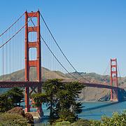 Golden Gate Bridge from Golden Gate park. San Francisco, CA. USA.