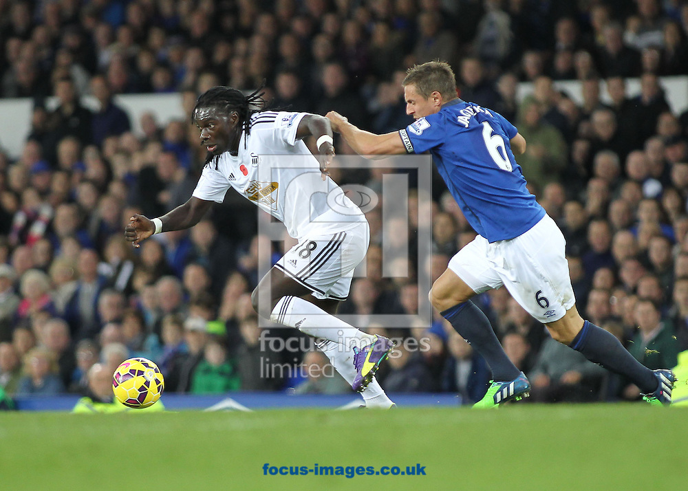 Bafetimbi Gomis of Swansea City and Phil Jagielka of Everton in action during the Barclays Premier League match at Goodison Park, Liverpool.<br /> Picture by Michael Sedgwick/Focus Images Ltd +44 7900 363072<br /> 01/11/2014
