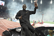 Joshua Cheptegei (UGA) poses with the trophy after winning the 5,000m in 12:57.41 in an IAAF Diamond League final during the Weltkasse Zurich at Letzigrund Stadium, Thursday, Aug. 29, 2019, in Zurich, Switzerland. (Jiro Mochizuki/Image of Sport)