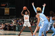 January 20, 2019: Beatrice Mompremier #32 of Miami in action during the NCAA basketball game between the Miami Hurricanes and the North Carolina Tar Heels in Coral Gables, Florida. The 'Canes defeated the Tar Heels 76-68.