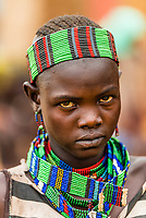 Woman at Hamer tribe weekly market in Turmi, Omo Valley, Ethiopia.