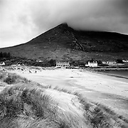 Mount Sleivemore towers behind a beach with white sand, long grassy plants, and several houses.