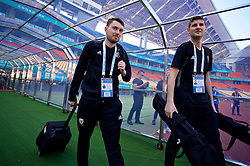 NANNING, CHINA - Tuesday, March 20, 2018: Wales' Steffan Poppham and James Turner during a training session at the Guangxi Sports Centre ahead of the opening 2018 Gree China Cup International Football Championship match against China. (Pic by David Rawcliffe/Propaganda)