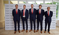 CARDIFF, WALES - Wednesday, June 1, 2016: David Edwards, Chris Gunter, goalkeeper Owain Fon Williams, goalkeeper Chris Maxwell and David Vaughan wearing T.M. Lewin suits before a charity send-off gala dinner at the Vale Resort Hotel ahead of the UEFA Euro 2016. (Pic by David Rawcliffe/Propaganda)