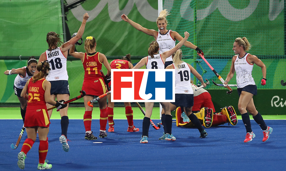 RIO DE JANEIRO, BRAZIL - AUGUST 15:  Georgie Twigg of Great Britain celebrates after scoring the first goal during the Women's quarter final hockey match between Great Britain and Spain on Day10 of the Rio 2016 Olympic Games held at the Olympic Hockey Centre on August 15, 2016 in Rio de Janeiro, Brazil.  (Photo by David Rogers/Getty Images)
