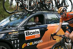 Megan Guarnier (USA) chats to Boels-Dolmans Cycling Team DS Danny Stam on Stage 3 of the Ladies Tour of Norway - a 156.6 km road race, between Svinesund (SE) and Halden on August 20, 2017, in Ostfold, Norway. (Photo by Balint Hamvas/Velofocus.com)