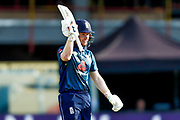 England ODI Captain & Batsman Eoin Morgan celebrates his half century and 50 during the 3rd Royal London ODI match between England and India at Headingley Stadium, Headingley, United Kingdom on 17 July 2018. Picture by Simon Davies.