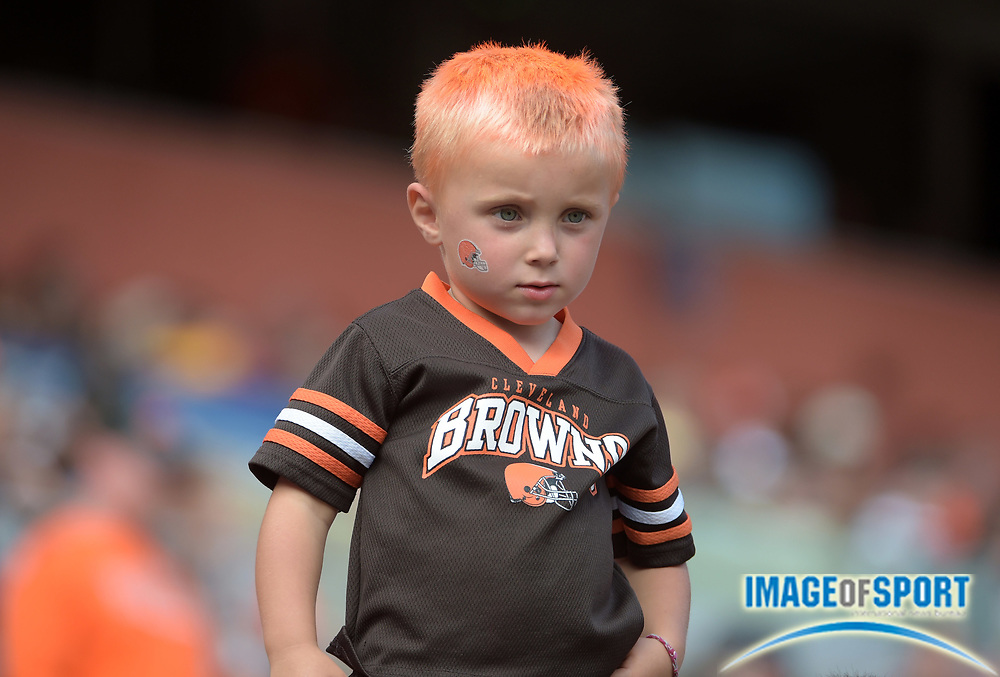 Sep 27, 2015; Cleveland, OH, USA; Cleveland Browns fan Nickales Dieringen (age 4) reacts during a NFL game against the Oakland Raiders at FirstEnergy Stadium. The Raiders defeated the Browns 27-20. Mandatory Credit: Kirby Lee-USA TODAY Sports