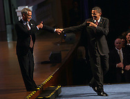 Chicago Mayor-elect Rahm Emanuel introduces President Barack Obama to crowd at Navy Pier fundraiser.