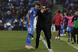 November 10, 2018 - Getafe, Madrid, Spain - Getafe CF's coach Jose Bordalas have words with Nemanja Maksimovic during La Liga match between Getafe CF and Valencia CF at Coliseum Alfonso Perez in Getafe, Spain. November 10, 2018. (Credit Image: © A. Ware/NurPhoto via ZUMA Press)
