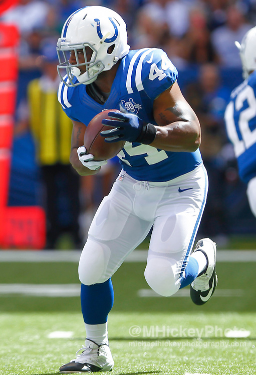 INDIANAPOLIS, IN - SEPTEMBER 15: Ahmad Bradshaw #44 of the Indianapolis Colts runs the ball against the Miami Dolphins at Lucas Oil Stadium on September 15, 2013 in Indianapolis, Indiana. Miami defeated Indianapolis 24-20. (Photo by Michael Hickey/Getty Images) *** Local Caption *** Ahmad Bradshaw