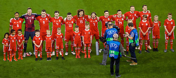 CARDIFF, WALES - Thursday, October 11, 2018: Wales players line-up for the national anthem before the International Friendly match between Wales and Spain at the Principality Stadium. Captain Ashley Williams, goalkeeper Wayne Hennessey, Sam Vokes, Ben Davies, Declan John, Ethan Ampadu, Joe Allen, Harry Wilson, Connor Roberts, Chris Gunter, Aaron Ramsey. (Pic by Laura Malkin/Propaganda)