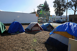 The current location of Tents by the Gardens, a homeless community that has organized its own sanitation and security. In a meeting on Saturday at the Soledad Community Learning Center, concerned parties discussed where in the neighborhood Soledad Street's homeless population can go after the City of Salinas sweeps the area on Thursday, January 31st.