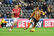Hull City forward Fraizer Campbell (25) and Bristol City midfielder Callum O'Dowda (11)  during the EFL Sky Bet Championship match between Hull City and Bristol City at the KCOM Stadium, Kingston upon Hull, England on 25 November 2017. Photo by Ian Lyall.