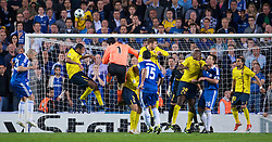LONDON, ENGLAND - Wednesday, May 6, 2009: Chelsea's goalkeeper Petr Cech wins a header in injury time but cannot prevent Barcelona's away goal victory during the UEFA Champions League Semi-Final 2nd Leg match at Stamford Bridge. (Photo by David Rawcliffe/Propaganda)