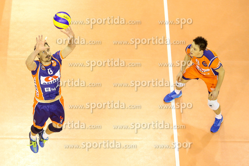 Rok Satler of ACH and Matija Plesko of ACH during volleyball match between ACH Volley Ljubljana and Posojilnica Aich - Dob in Semifinal of MEVZA Cup Men - Final Four, on March 11, 2016 in Hala Tivoli, Ljubljana, Slovenia. Photo by Morgan Kristan / Sportida