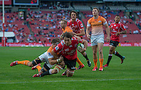 EMIRATES AIRLINE PARK, SOUTH AFRICA - APRIL 25: Warwick Tecklenburg of the Lions scoring a try during the Vodacom Super Rugby match between the Emirates Lions and the Toyota Cheetahs played at Emirates Airline Park, Johannesburg, South Africa. (Photo by Anton Geyser/ Rugby 15/SASPA)