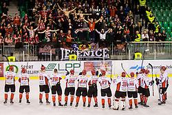 HDD Jesenice players celebrate during Hockey match between SZ HD Olimpija and HDD Jesenice in 4tht match of Quarterfinals of Alps Hockey League, on March 13, 2018 in Hala Tivoli, Ljubljana, Slovenia. Photo by Ziga Zupan / Sportida