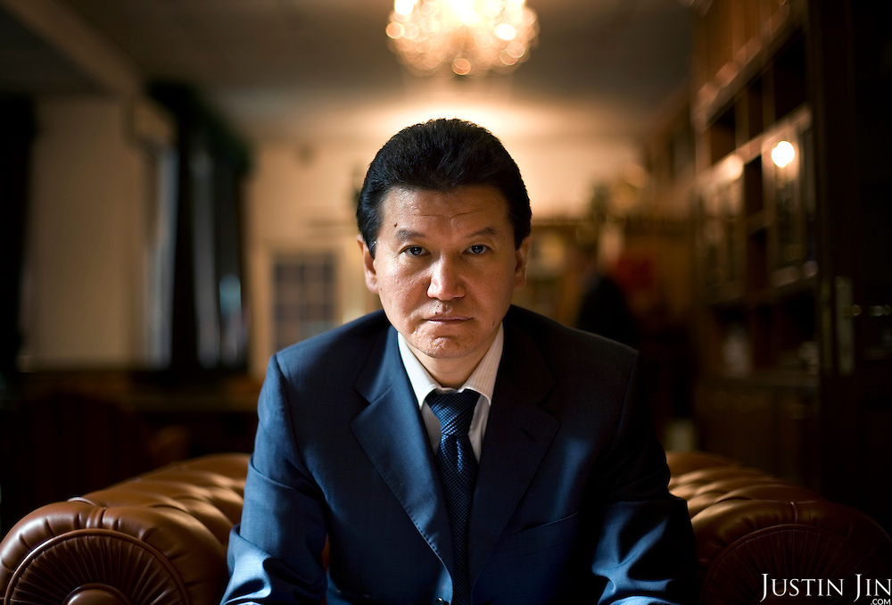 Portrait of Kirsan Ilyumzhinov, 44, president of the southern Russian republic Kalmykia, in his representative office in Moscow...Ilyumzhinov, who is also the president of the World Chess Federation, Fide, is hosting one of the world?s most important matches in history. ..The match beginning September 21 in Elista, the capital of Europe?s only Buddhist nation, will end a 13-year split in the game that has produced rival claims to the title. ..Veselin Topalov, a Bulgarian ranked first according to Fide, will play against Vladimir Kramnik, who is the Classical Chess World Champion, a title established after Garry Kasparov led a breakaway from Fide in 1993. The two grandmasters, both aged 31, will face each other for the right to be undisputed world chess champion...A Buddhist millionaire businessman, Ilyumzhinov acquired his wealth in the economic free-for-all which followed the collapse of the Soviet Union. ..At the age of just over 30, he was elected president in 1993 after promising voters $100 each and a mobile phone for every shepherd. Soon after, he introduced presidential rule, concentrating power in his own hands. ..He denies persistent accusations of corruption, human rights abuses and the suppression of media freedom. When Larisa Yudina, editor of the republic's only opposition newspaper and one of his harshest critics, was murdered in 1998, he strenuously rejected allegations of involvement. ..Mr Ilyumzhinov has been president of the International Chess Federation (FIDE) since 1995 and has been enthusiastic about attracting international tournaments to Kalmykia. His extravagant Chess City has led to protests by its impoverished citizens. .
