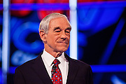"22 FEBRUARY 2012 - MESA, AZ:   Congressman RON PAUL at the Arizona Republican Presidential Debate in the Mesa Arts Center in Mesa, AZ, Wednesday. It is the last debate before the Michigan and Arizona Republican primaries on Feb. 28 and ""Super Tuesday"" on March 6.         PHOTO BY JACK KURTZ"