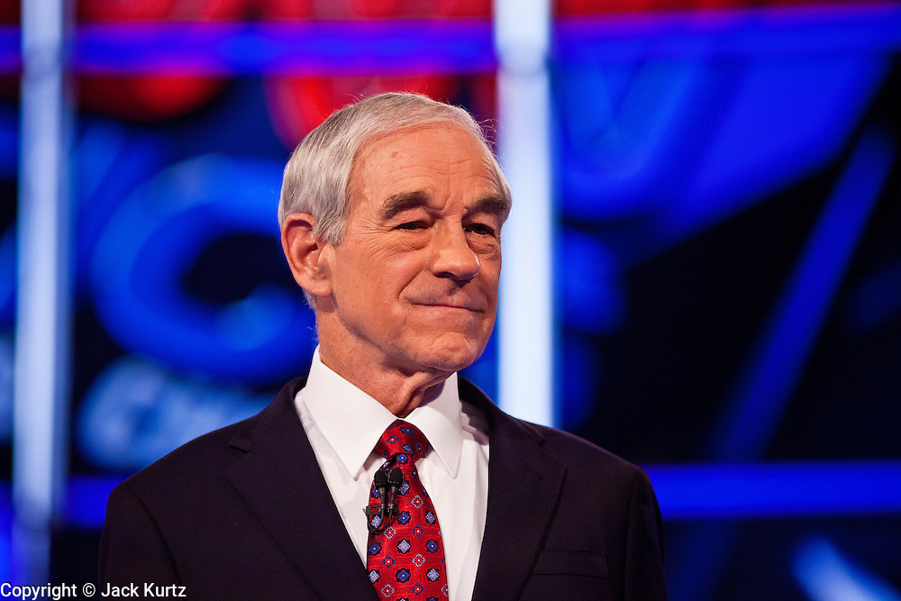 """22 FEBRUARY 2012 - MESA, AZ:   Congressman RON PAUL at the Arizona Republican Presidential Debate in the Mesa Arts Center in Mesa, AZ, Wednesday. It is the last debate before the Michigan and Arizona Republican primaries on Feb. 28 and """"Super Tuesday"""" on March 6.         PHOTO BY JACK KURTZ"""