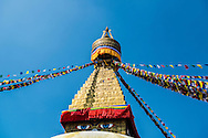 Prayer flags stretched from the top of the Boudhanath stupa in Kathmandu, Nepal.