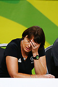 Head Coach Janine Southby of New Zealand reacts after losing to England. Gold Coast 2018 Commonwealth Games, Netball, New Zealand Silver Ferns v England, Gold Coast Convention and Exhibition Centre, Gold Coast, Australia. 11 April 2018 © Copyright Photo: Anthony Au-Yeung / www.photosport.nz