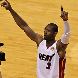 Jun 19, 2012; Miami, FL, USA; Miami Heat shooting guard Dwyane Wade (3) before the start of game four of the 2012 NBA Finals against the Oklahoma City Thunder at the American Airlines Arena. Mandatory Credit: Derick E. Hingle-US PRESSWIRE