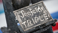 "31.01.2016, Casino Arena, Seefeld, AUT, FIS Weltcup Nordische Kombination, Seefeld Triple, Skisprung, im Bild ein Schild mit der Aufschrift ""Seefeld Triple"" // a sign with ""Seefeld Triple"" on it during the FIS Nordic Combined World Cup Seefeld Triple at the Casino Arena in Seefeld, Austria on 2016/01/31. EXPA Pictures © 2016, PhotoCredit: EXPA/ Jakob Gruber"