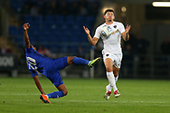 Kalvin Phillips of Leeds Utd &reg; controls the ball and goes past Loic Damour of Cardiff city. EFL Skybet championship match, Cardiff city v Leeds Utd at the Cardiff city stadium in Cardiff, South Wales on Tuesday 26th September 2017.<br /> pic by Andrew Orchard, Andrew Orchard sports photography.