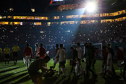 March 23, 2018 - Miami Gardens, Florida, USA - The teams enter field for the opening ceremony of a FIFA World Cup 2018 preparation match between the Peru National Soccer Team and the Croatia National Soccer Team at the Hard Rock Stadium in Miami Gardens, Florida. (Credit Image: © Mario Houben via ZUMA Wire)