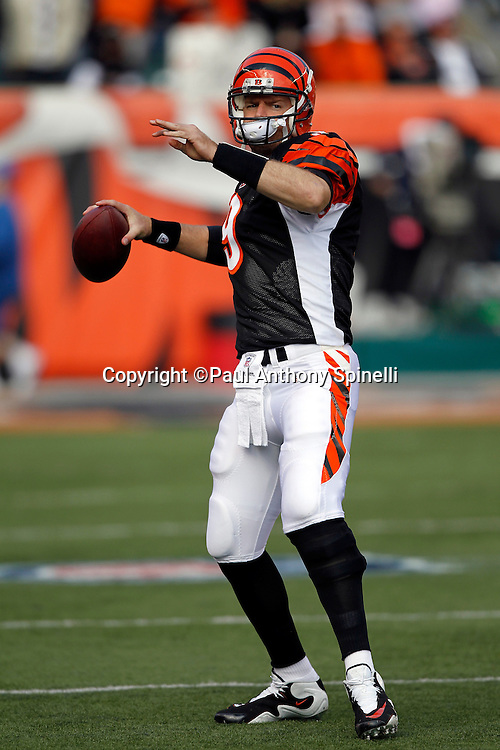 Cincinnati Bengals quarterback Carson Palmer (9) throws a pregame pass during the NFL week 8 football game against the Miami Dolphins on Sunday, October 31, 2010 in Cincinnati, Ohio. The Dolphins won the game 22-14. (©Paul Anthony Spinelli)